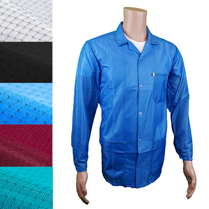 ESD Jacket with Lapel Collar, Snap Cuff, blue
